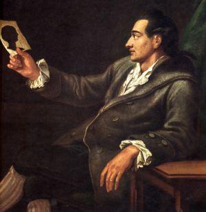 Portrait Goethe bei der Betrachtung eines Scherenschnittes. Aus: http://www.onlinekunst.de/goethe/goethe_bilder.html. Autorin: Inga Schnekenburger