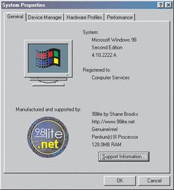 Captura de pantalla de 98lite Professionat instalado