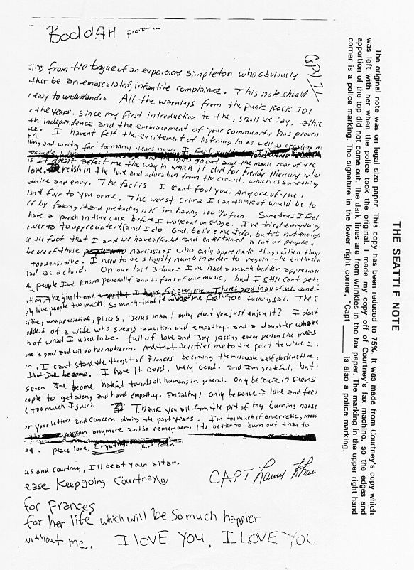 carta de kurt cobain antes de morir